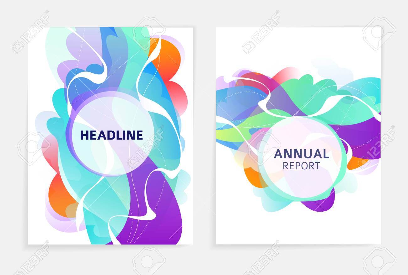 Set of designs for flyer, broshure, book's cover, poster, web, annual report. Abstract and colorful. Geometry. Vector illustration. - 136052692