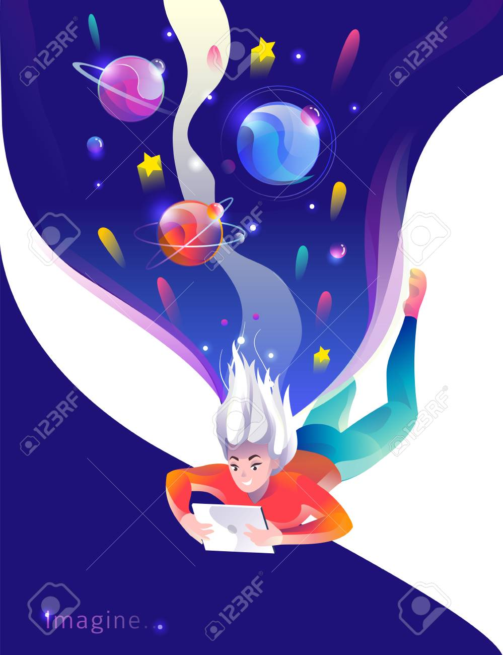Concept in flat style with woman falling down with tablet. Space and planets. Education, game, reading, inspiration, imagination, fantasy. Vector illustration. - 122413457