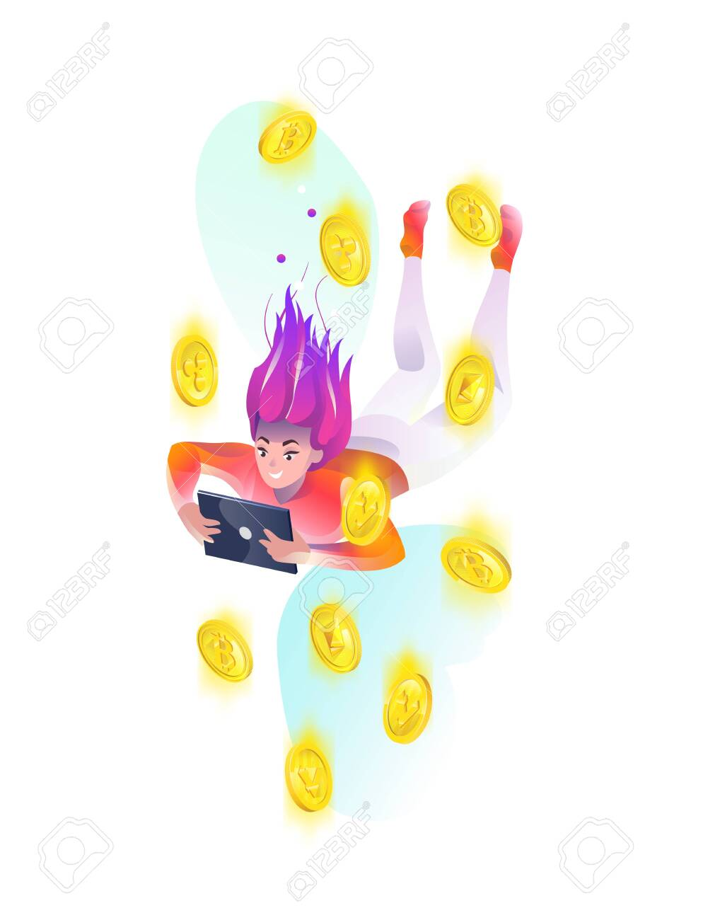 Concept in flat style with woman falling down with tablet and cryptocurrency. Internet freedom, free wifi, on-line, reading. Vector illustration. - 136053074