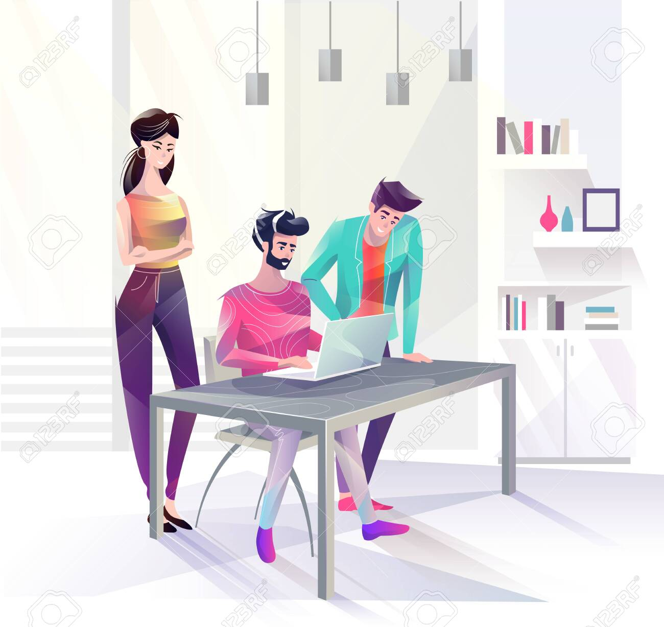 Concept in flat style with office workers. Man and woman are looking at laptop. Businessman. Creative atmosphere. Vector illustration. - 136053076