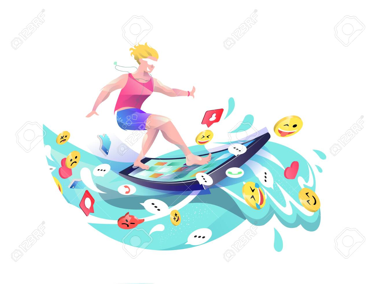 Concept in flat style with man surfing through internet. Business and news. Vector illustration. - 136053082