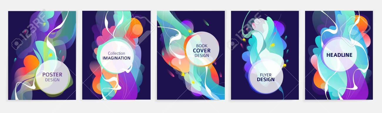 Set of designs for flyer, broshure, book's cover, poster, web, annual report. Abstract and colorful. Geometry. Vector illustration. - 136053084