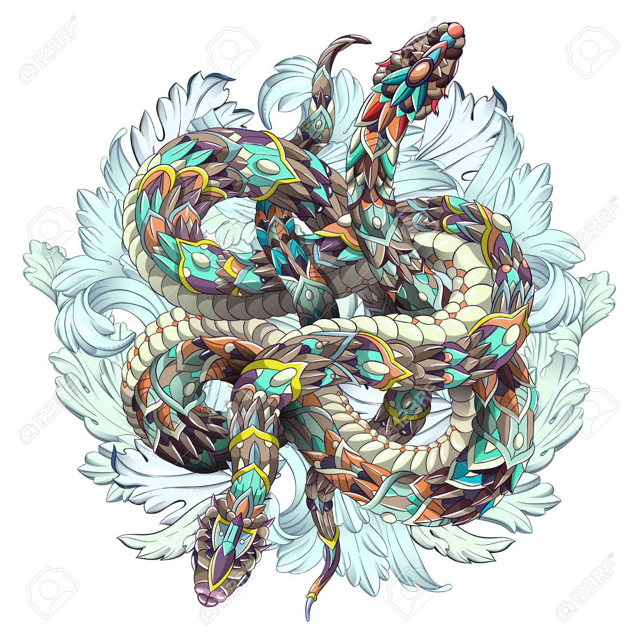 Patterned two snakes on the grunge background. Tattoo design. It may be used for design of a t-shirt, bag, postcard, a poster and so on. - 136053086