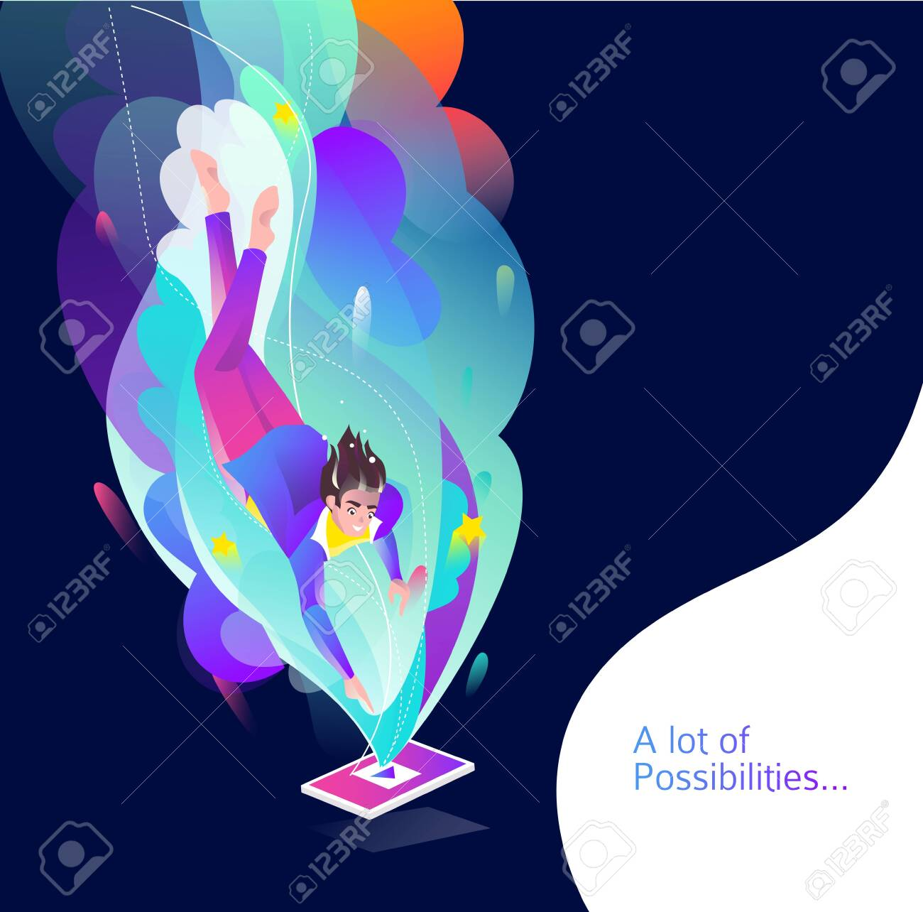 Concept in flat style with man falling down to tablet. Internet freedom, free wifi, on-line education, game, reading, inspiration. Vector illustration. - 136053092