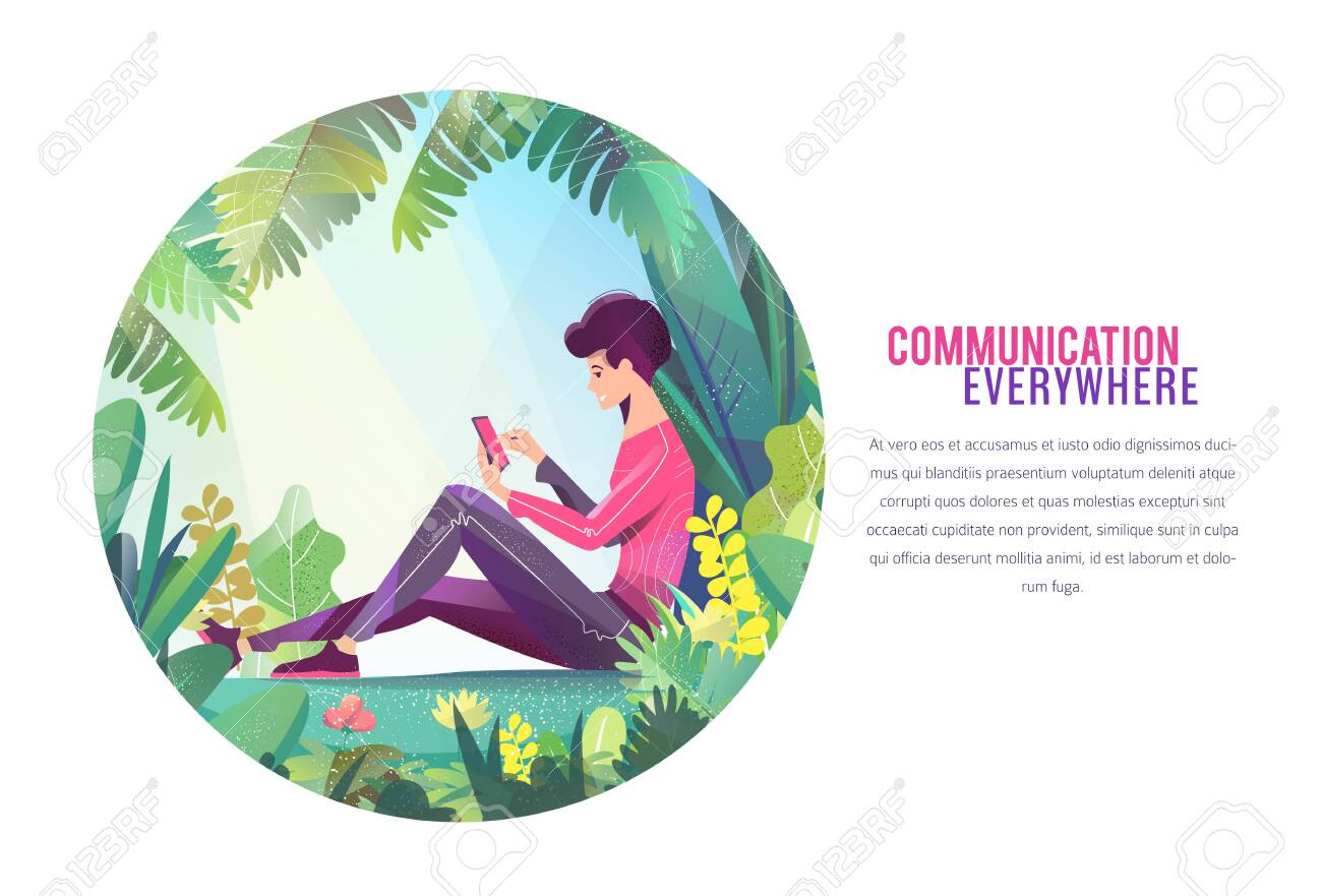 Concept in flat style. Young man sitting in park and chatting. Mobile phone. - 136053377