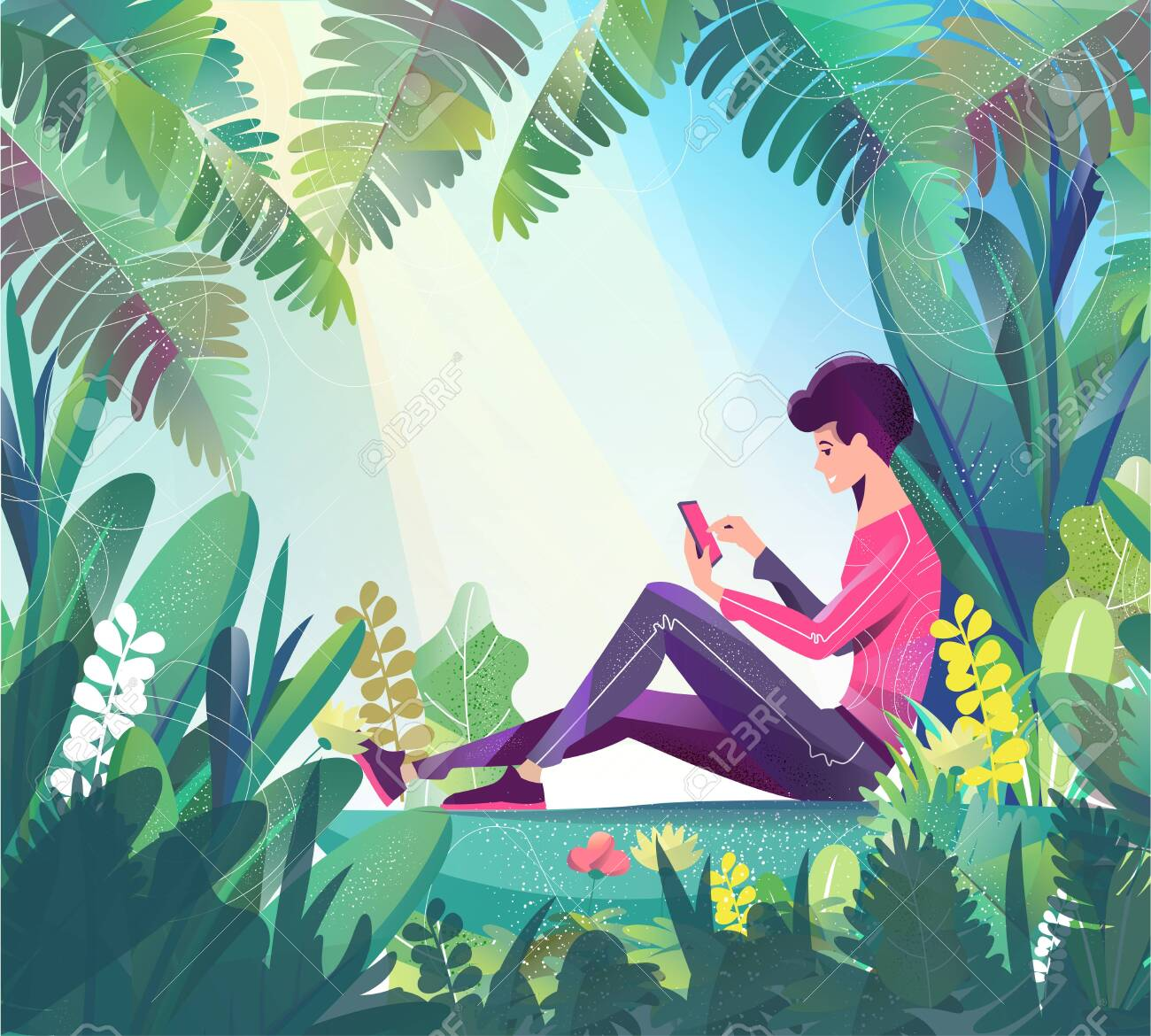 Concept in flat style. Young man sitting in park and chatting. Mobile phone. - 136053379