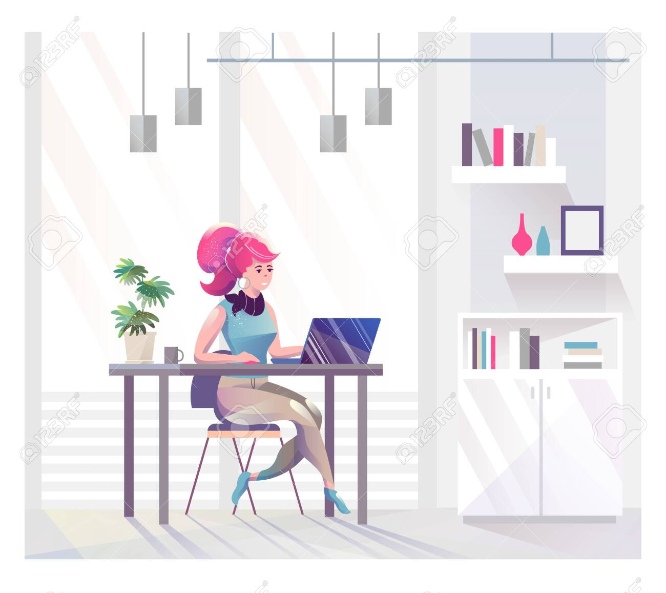 Concept in flat style with woman. Businesswoman works in office. Creative atmosphere. Vector illustration. - 136053380