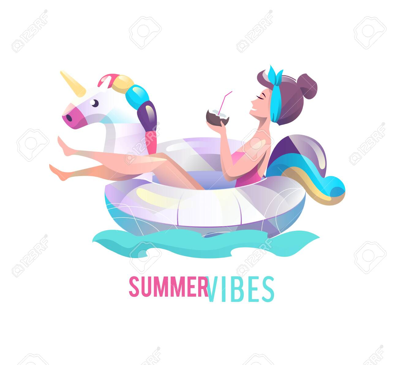 Concept in flat style with woman swimming with circle. Vacation and relaxation. Sunbathing. Vector illustration. - 122413472