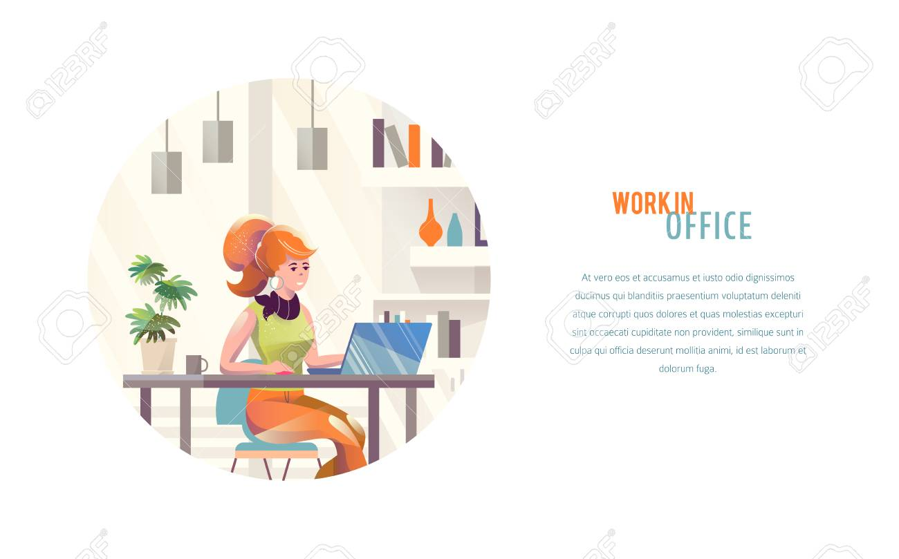 Concept in flat style with woman. Businesswoman works in office. Creative atmosphere. Vector illustration. - 122413478