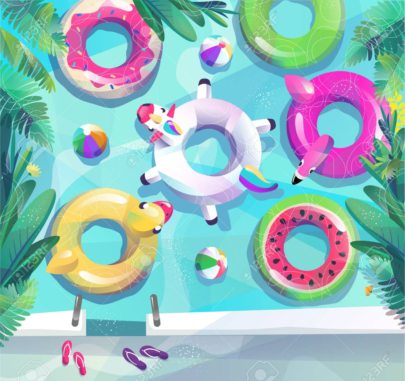 Concept in flat style. Summer pool party poster. Many circles float in pool or sea. Vector illustration. - 122413481