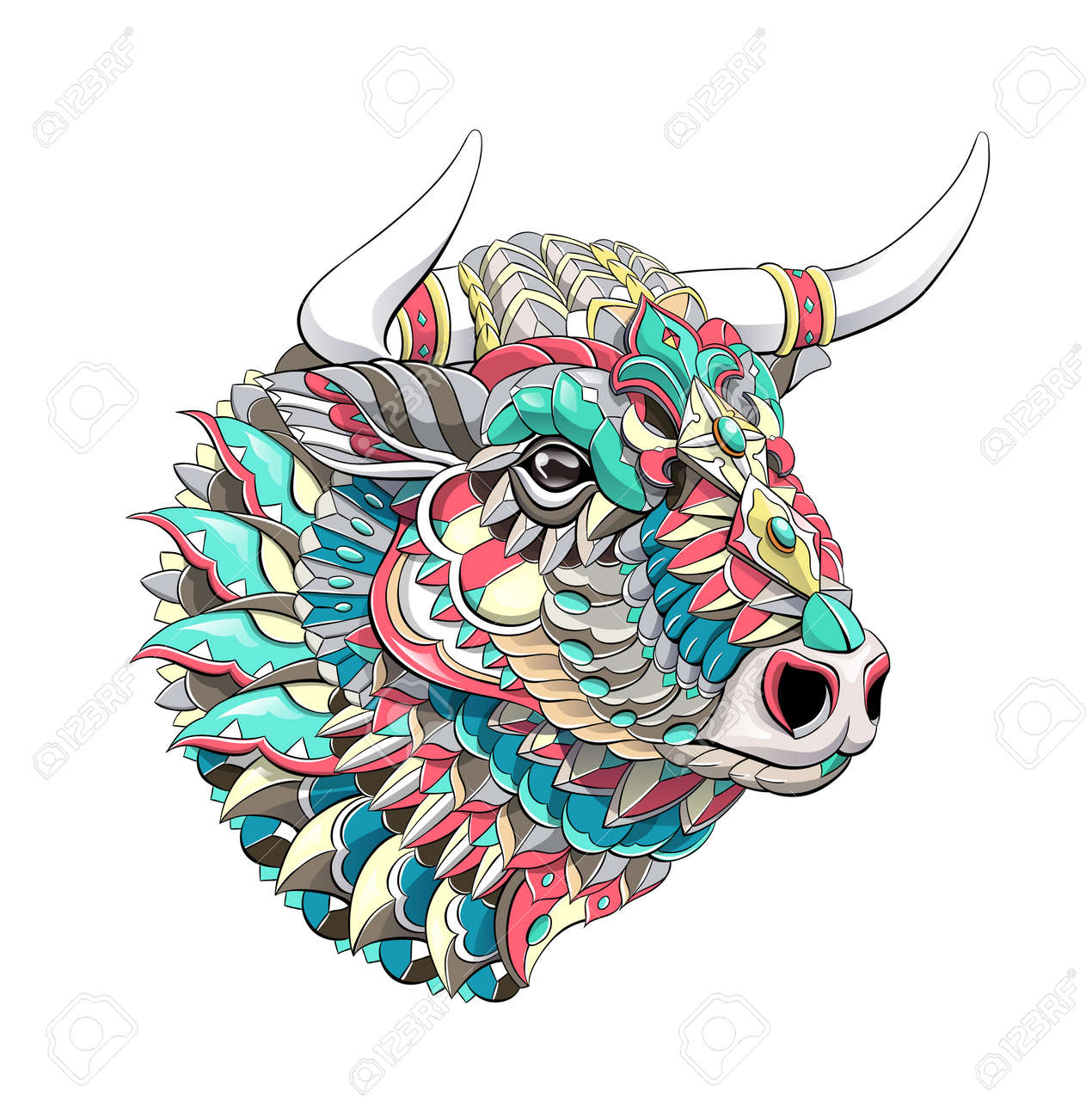 Patterned head of bull. Symbol of 2021. Tattoo design. It may be used for design of a t-shirt, bag, postcard, a poster and so on. - 157550902