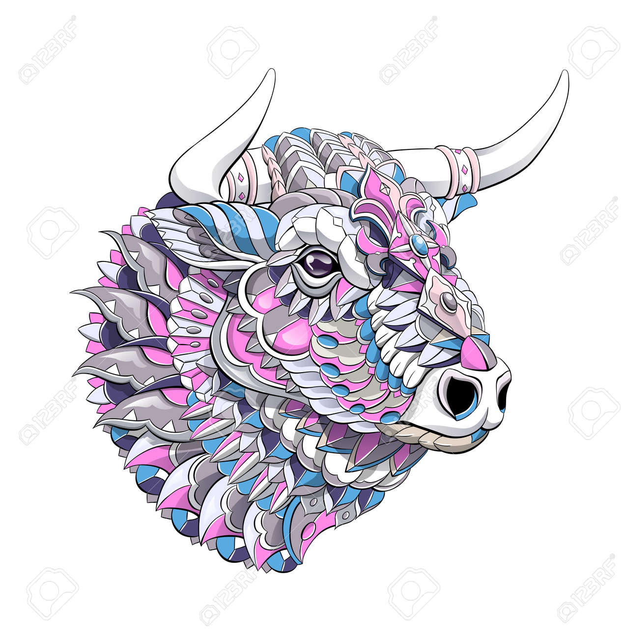 Patterned head of bull. Symbol of 2021. Tattoo design. It may be used for design of a t-shirt, bag, postcard, a poster and so on. - 157550905
