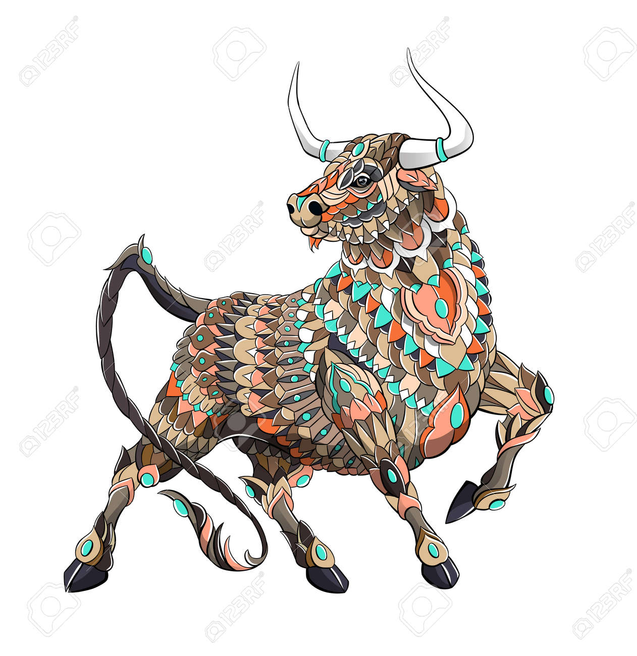 Patterned bull. Symbol of 2021. Tattoo design. It may be used for design of a t-shirt, bag, postcard, a poster and so on. - 157550909
