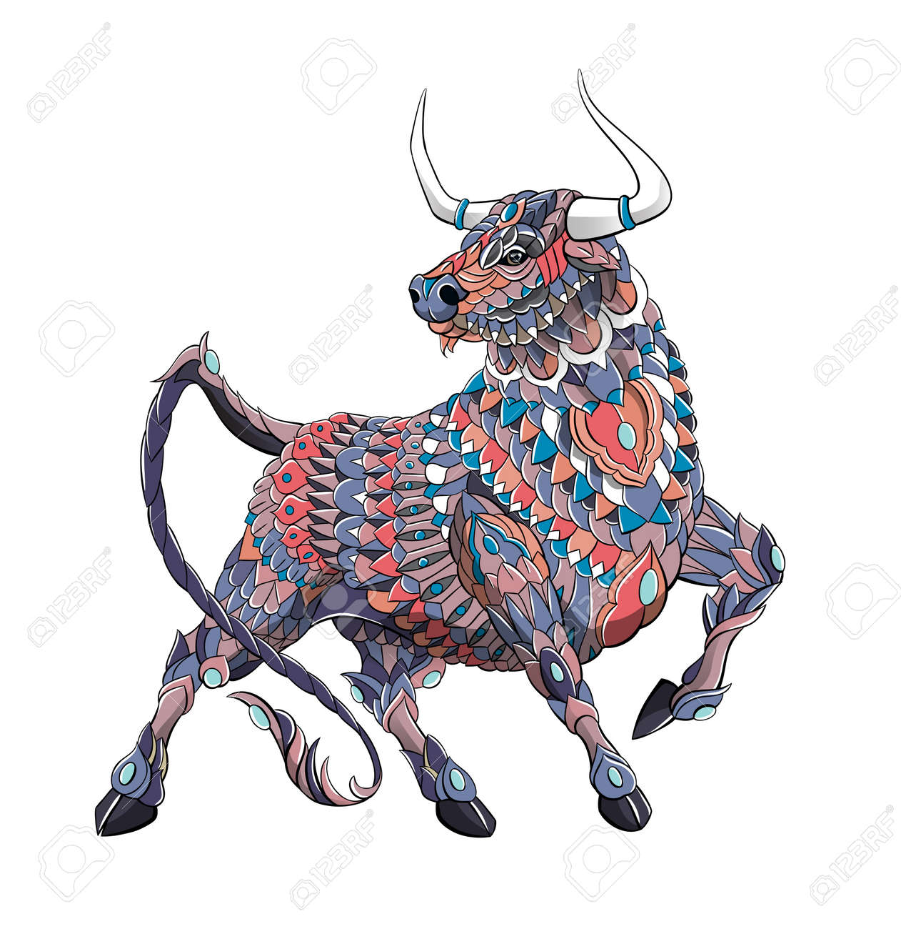 Patterned bull. Symbol of 2021. Tattoo design. It may be used for design of a t-shirt, bag, postcard, a poster and so on. - 157550914