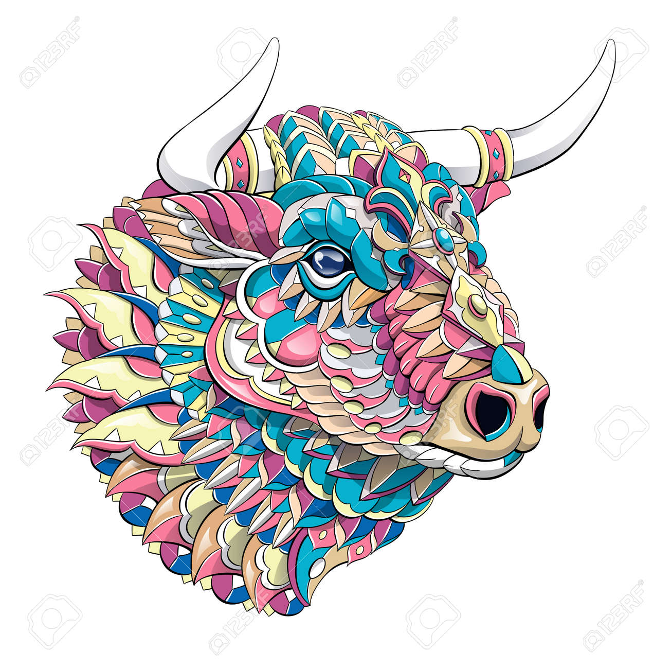 Patterned head of bull. Symbol of 2021. Tattoo design. It may be used for design of a t-shirt, bag, postcard, a poster and so on. - 157550912
