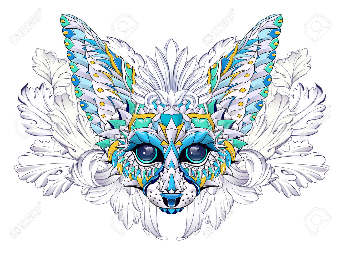 Patterned head of fennec with decoration. Desert fox. Tattoo design. It may be used for design of a t-shirt, bag, postcard, a poster and so on. - 158036039