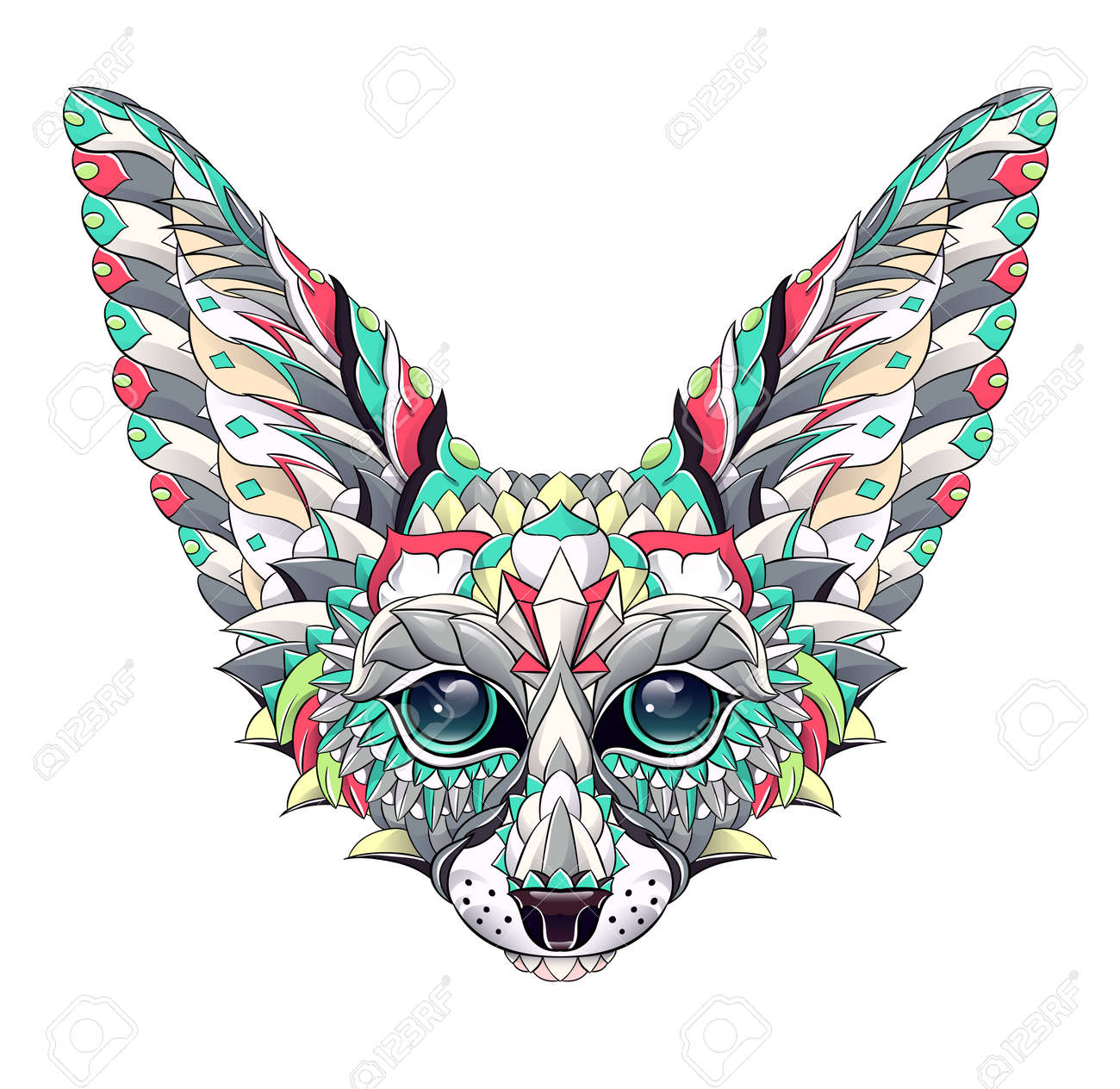 Patterned head of fennec with decoration. Desert fox. Tattoo design. It may be used for design of a t-shirt, bag, postcard, a poster and so on. - 158036040