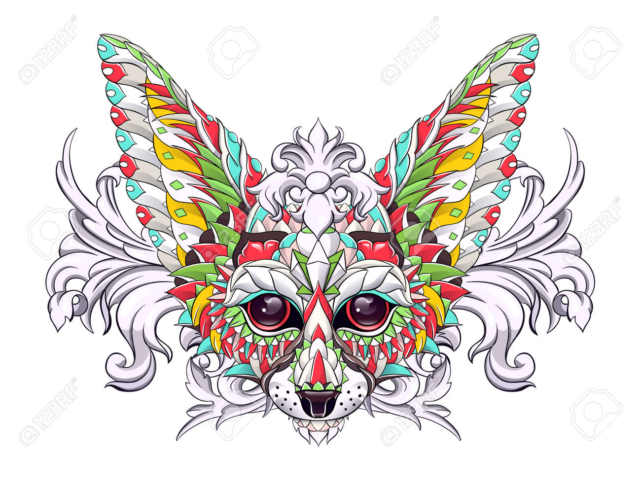Patterned head of fennec with decoration. Desert fox. Tattoo design. It may be used for design of a t-shirt, bag, postcard, a poster and so on. - 157550939