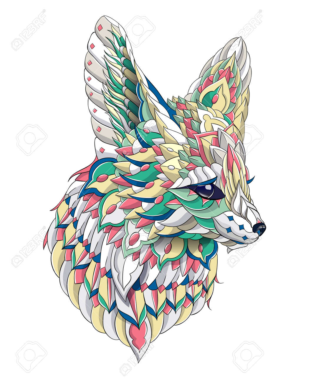 Patterned head of fennec with decoration. Desert fox. Tattoo design. It may be used for design of a t-shirt, bag, postcard, a poster and so on. - 158036074