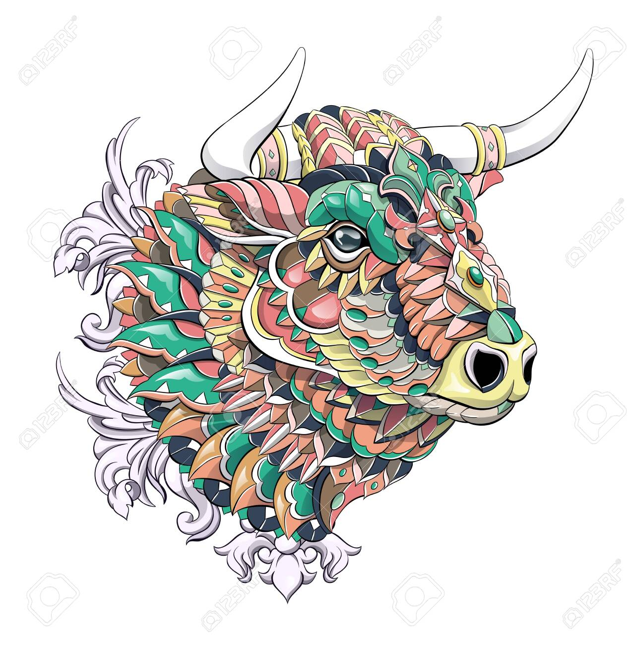 Patterned head of bull. Symbol of 2021. Tattoo design. It may be used for design of a t-shirt, bag, postcard, a poster and so on. - 157550938