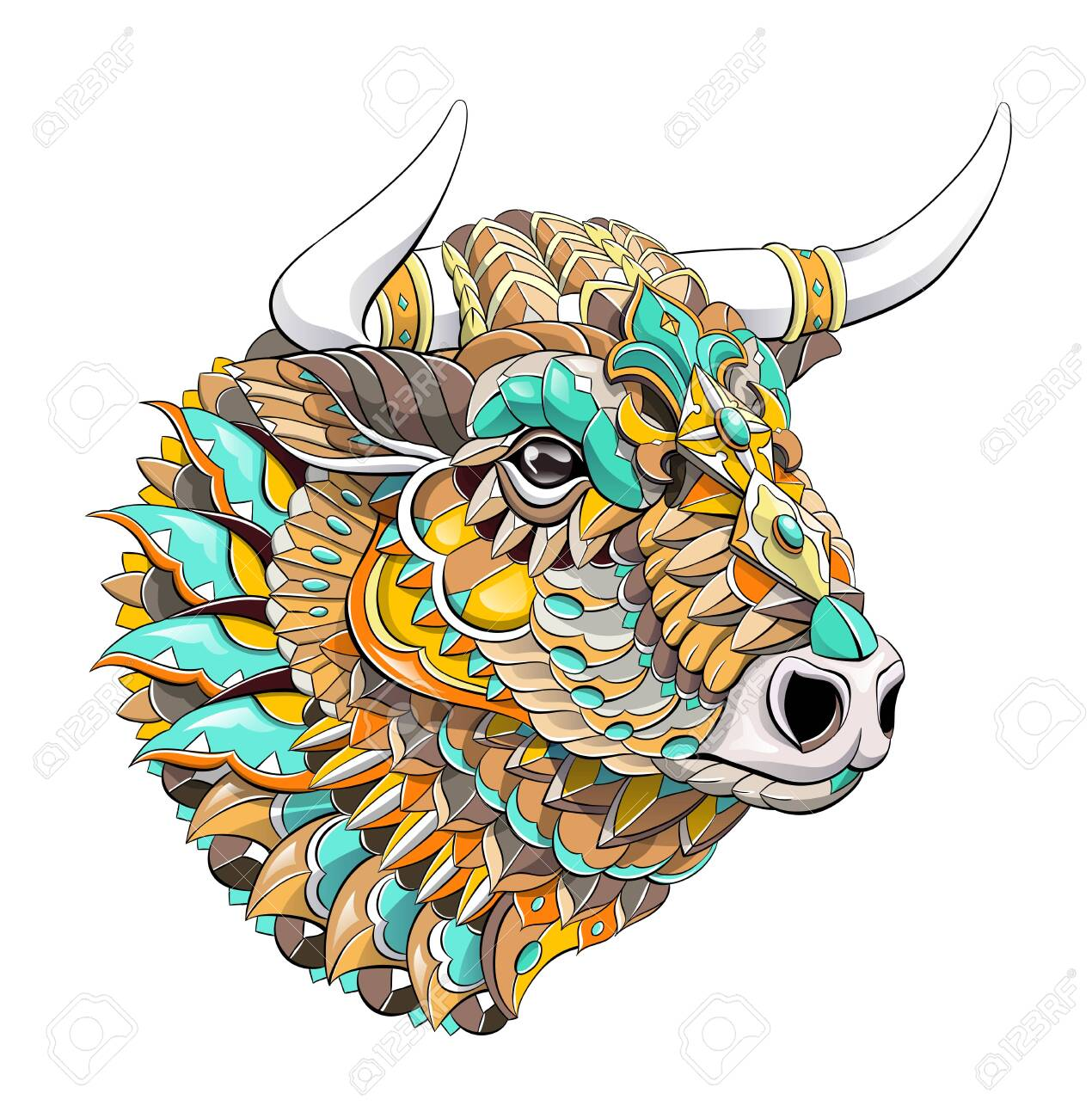Patterned head of bull. Symbol of 2021. Tattoo design. It may be used for design of a t-shirt, bag, postcard, a poster and so on. - 157550946