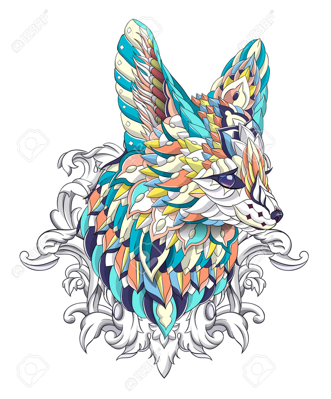 Patterned head of fennec with decoration. Desert fox. Tattoo design. It may be used for design of a t-shirt, bag, postcard, a poster and so on. - 158036078