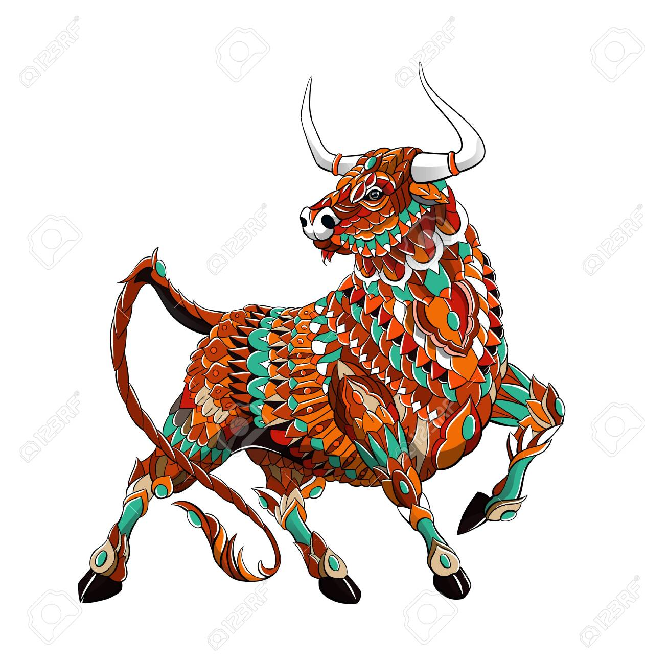 Patterned bull. Symbol of 2021. Tattoo design. It may be used for design of a t-shirt, bag, postcard, a poster and so on. - 157550948
