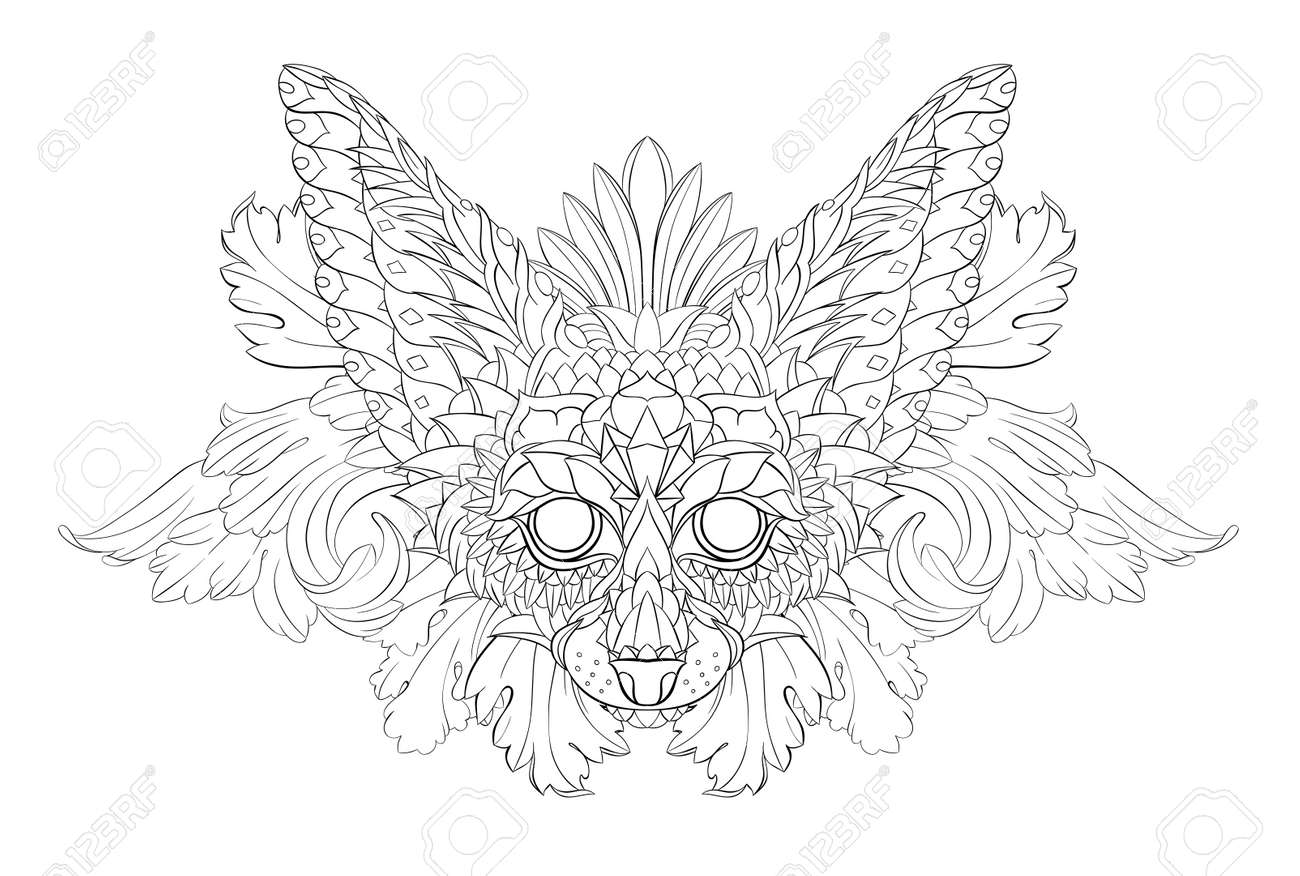Patterned head of fennec with decoration. Desert fox. Tattoo design. It may be used for design of a t-shirt, bag, postcard, a poster and so on. - 158036093