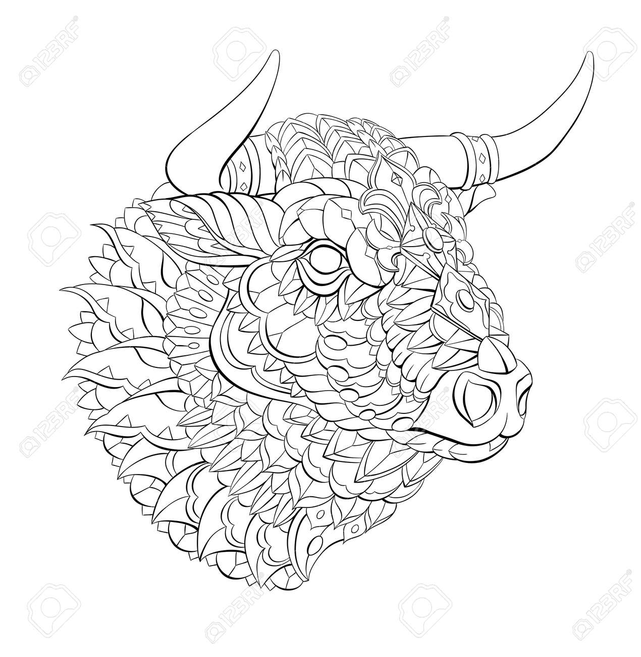 Patterned head of bull. Symbol of 2021. Tattoo design. It may be used for design of a t-shirt, bag, postcard, a poster and so on. - 157550947