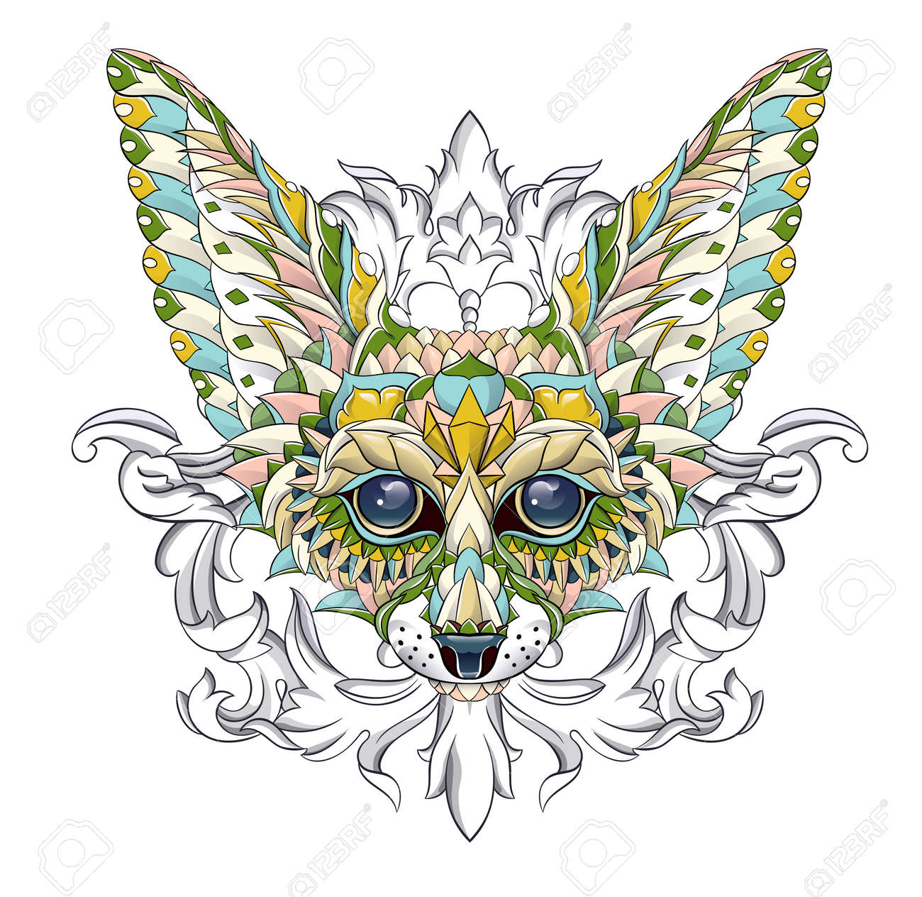 Patterned head of fennec with decoration. Desert fox. Tattoo design. It may be used for design of a t-shirt, bag, postcard, a poster and so on. - 157550944