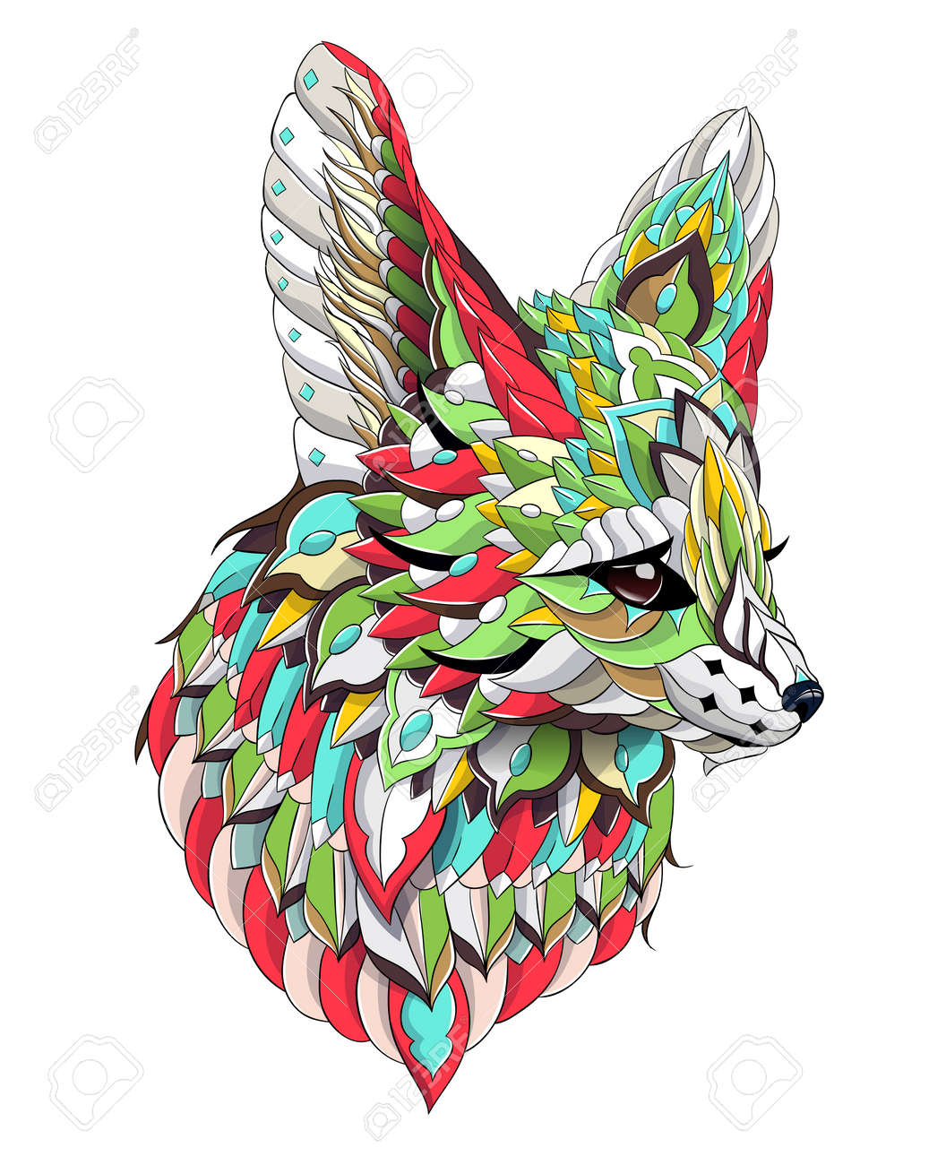 Patterned head of fennec with decoration. Desert fox. Tattoo design. It may be used for design of a t-shirt, bag, postcard, a poster and so on. - 158036100