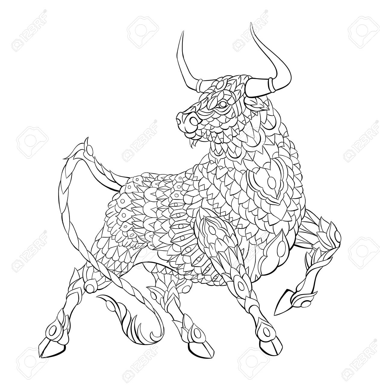 Patterned bull. Symbol of 2021. Tattoo design. It may be used for design of a t-shirt, bag, postcard, a poster and so on. - 157550950
