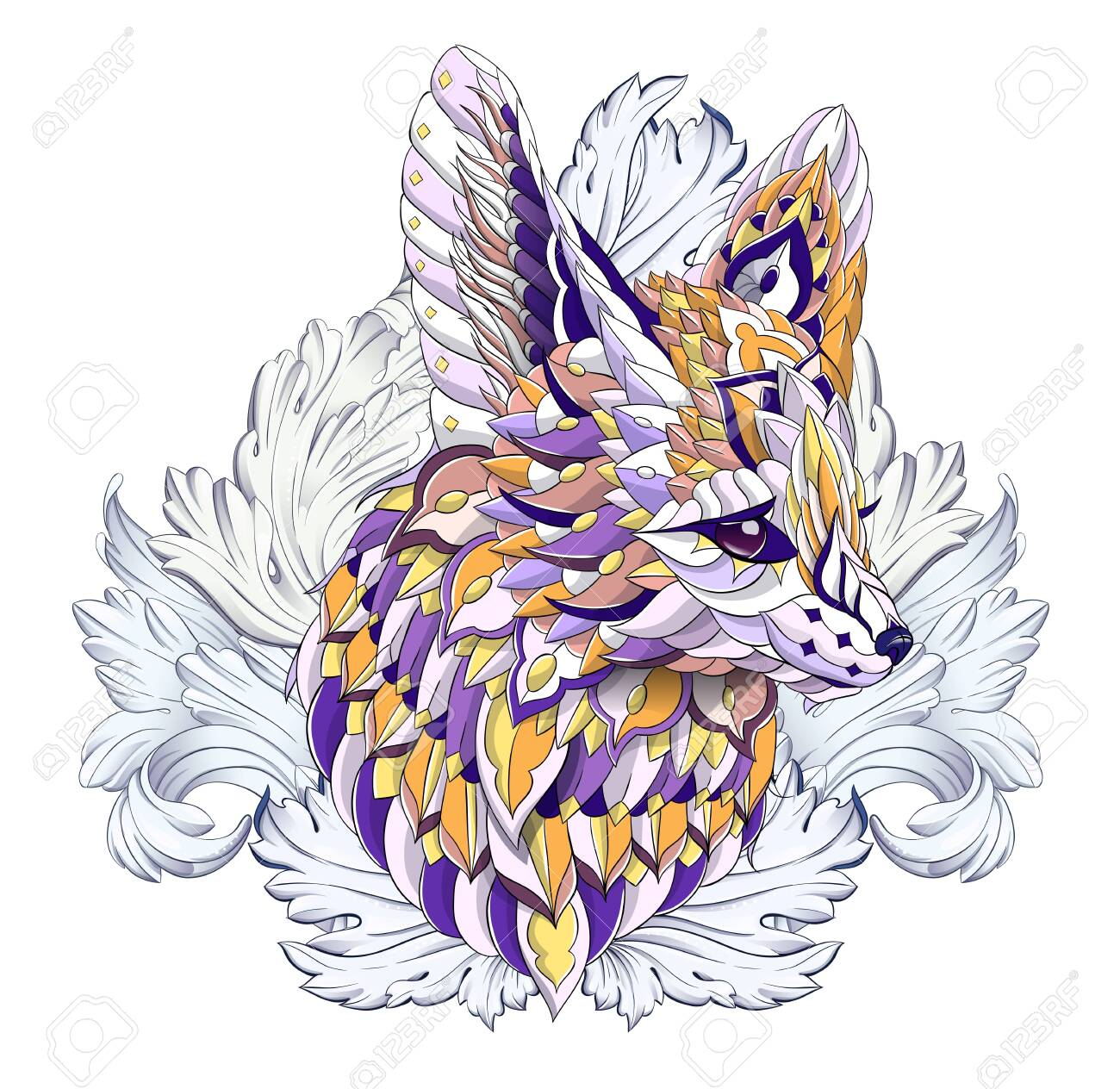 Patterned head of fennec with decoration. Desert fox. Tattoo design. It may be used for design of a t-shirt, bag, postcard, a poster and so on. - 158036104