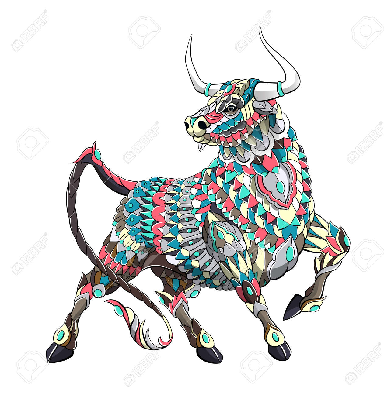 Patterned bull. Symbol of 2021. Tattoo design. It may be used for design of a t-shirt, bag, postcard, a poster and so on. - 157550952