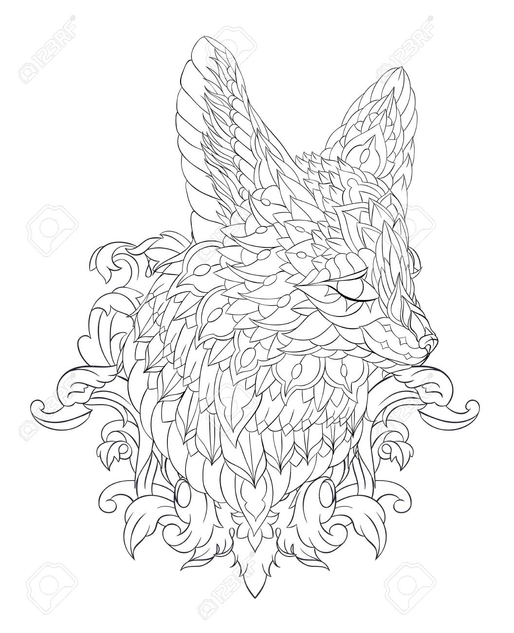 Patterned head of fennec with decoration. Desert fox. Tattoo design. It may be used for design of a t-shirt, bag, postcard, a poster and so on. - 157550953