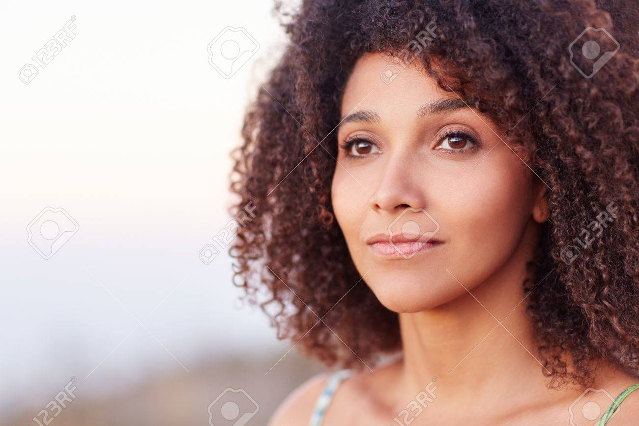 Intimate Closeup Portrait Of A Beautiful Mixed Race Woman Outdoors Stock Photo Picture And Royalty Free Image Image 51356045