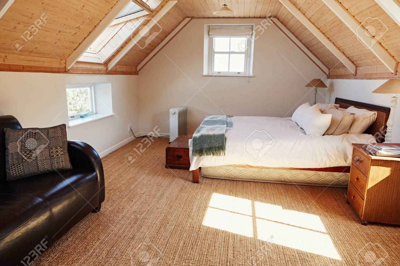Interior Of An Attic Bedroom In A Country Home Stock Photo Picture And Royalty Free Image Image 97923947