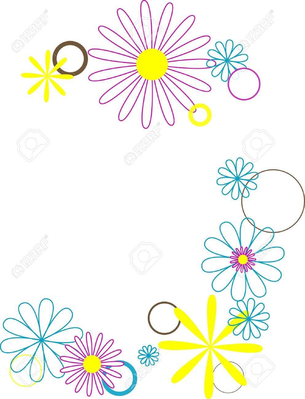retro flowers and circles Stock Photo - 320300