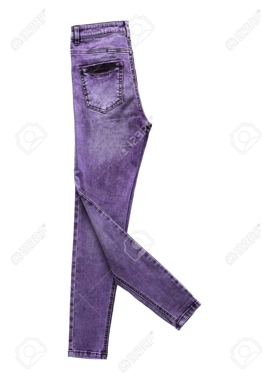 best service 87ab0 2310a Jeans violet jeans plié marche pack isolé sur fond blanc