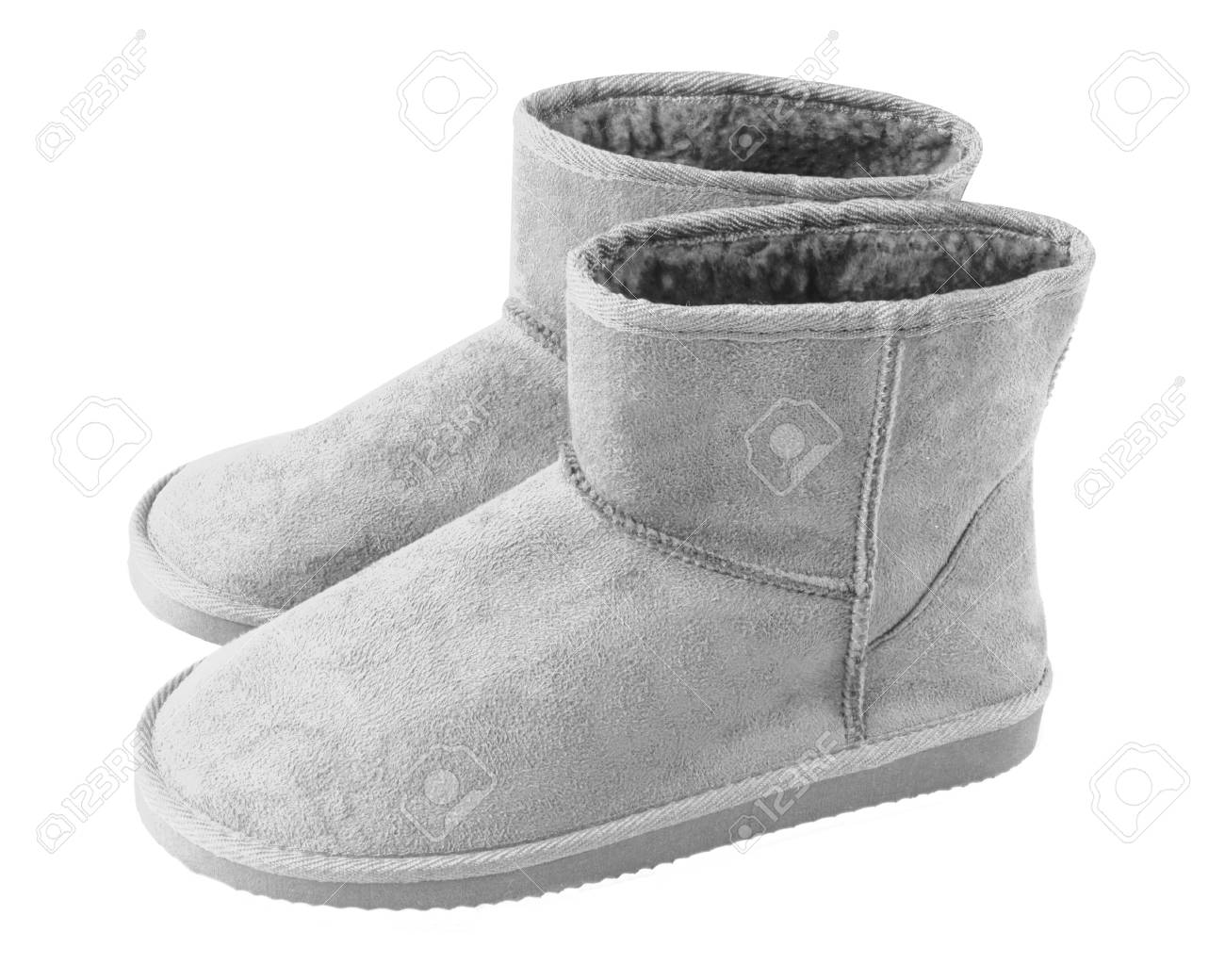 ad64b5dd0f4 Silver gray turquoise pair of short winter ugg boots isolated..