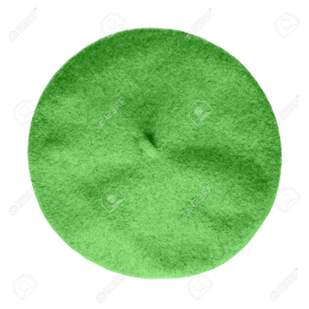 e47b43e5bc4 Chartreuse light green beret French hat top view isolated on white Stock  Photo - 94766076
