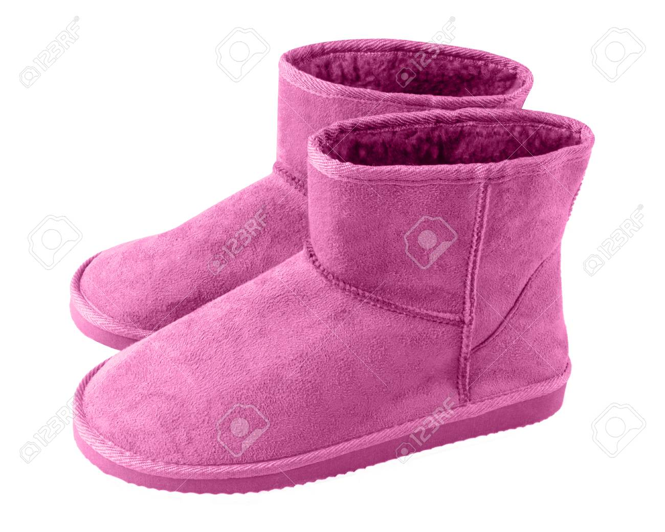 077efb0a8c7 Pink pair of short winter ugg boots isolated white