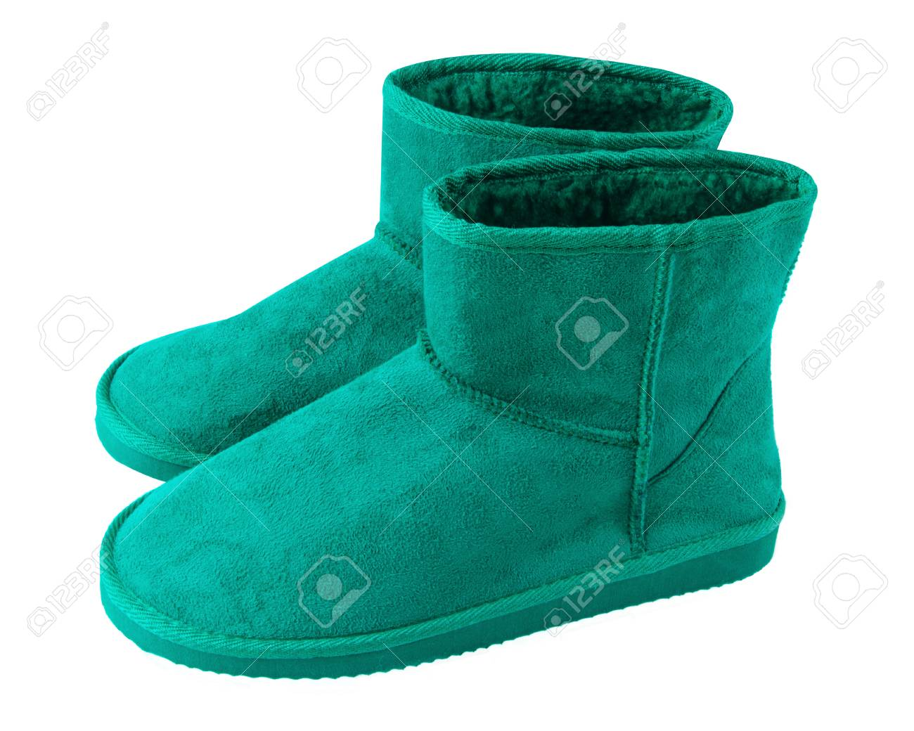 6125d845c44 Sea color turquoise pair of short winter ugg boots isolated white