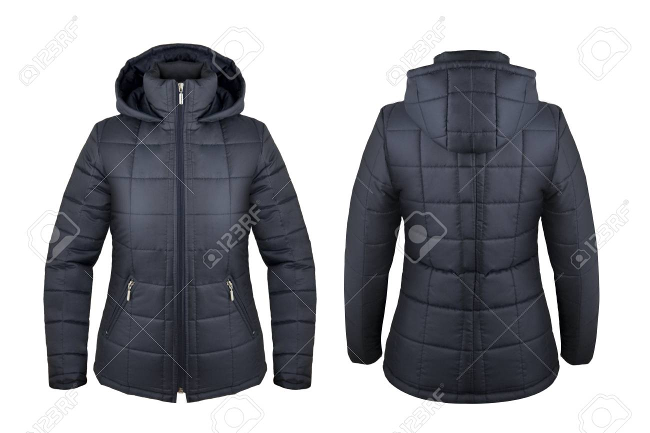 d55b7cbc4 Navy blue down jacket with hood front and back isolated on white