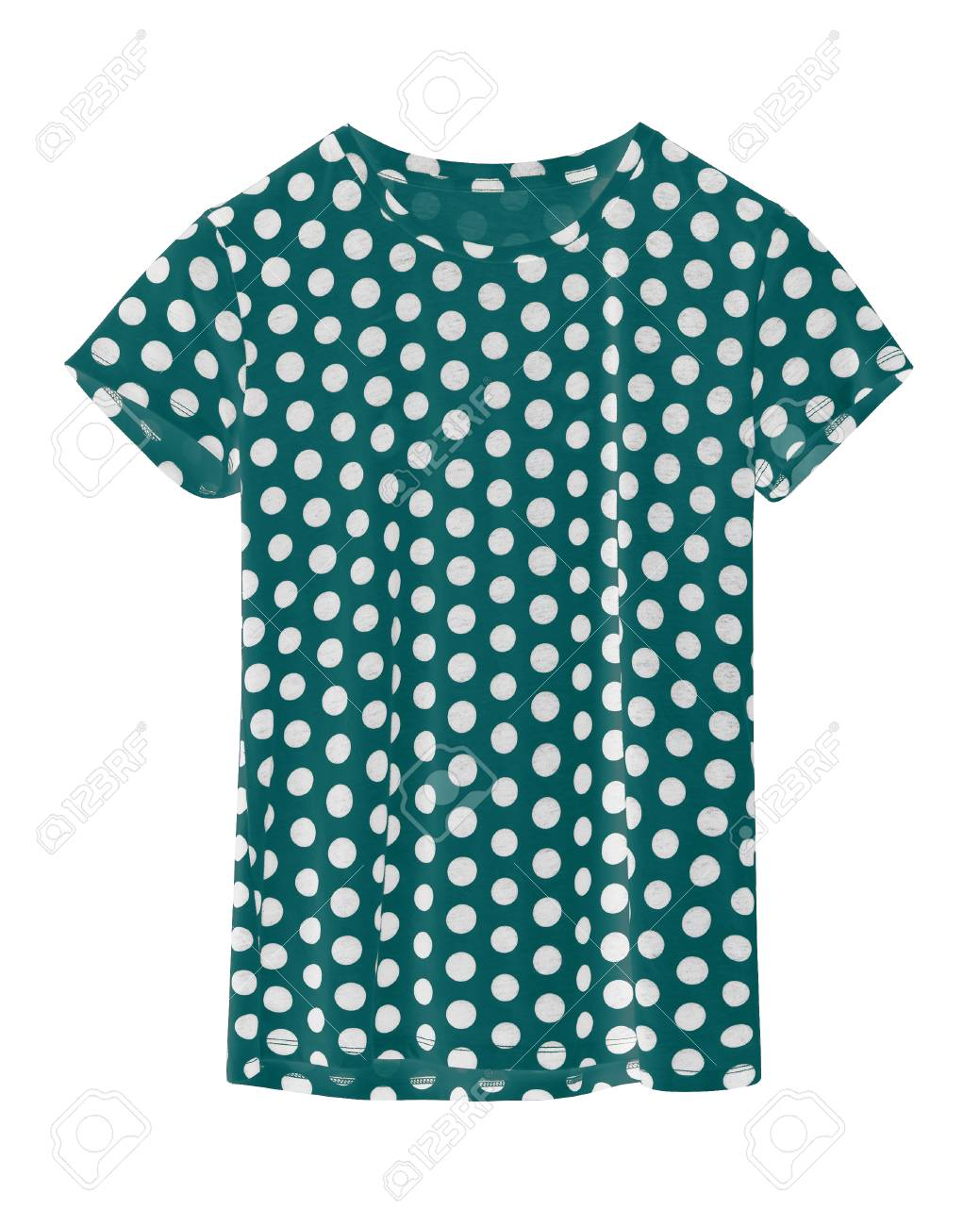 031f433686f1f6 Stock Photo - Turquoise sea color t-shirt in white polka dots isolated on  white background
