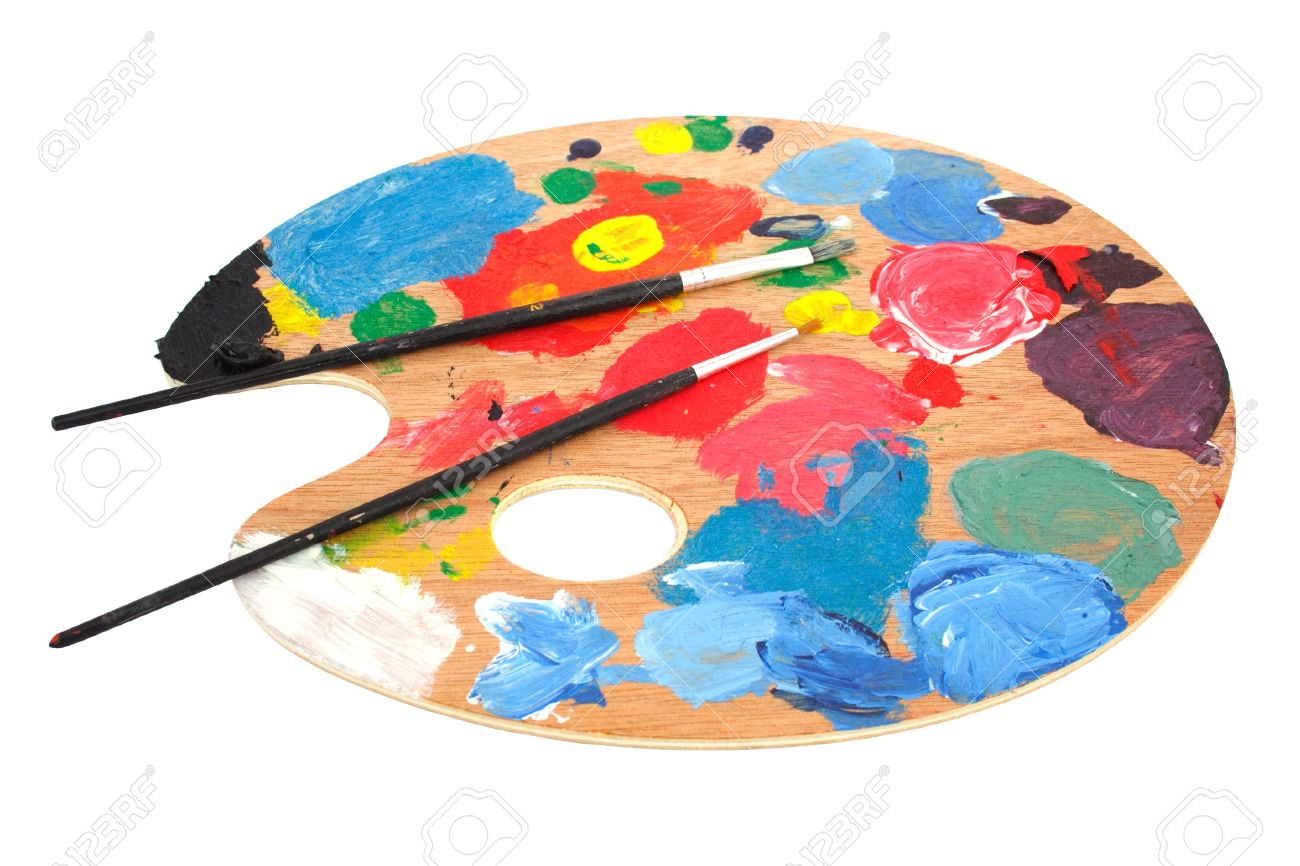 Paint Brushes And Pallet Stock Photo, Picture And Royalty Free Image. Image  2480783.