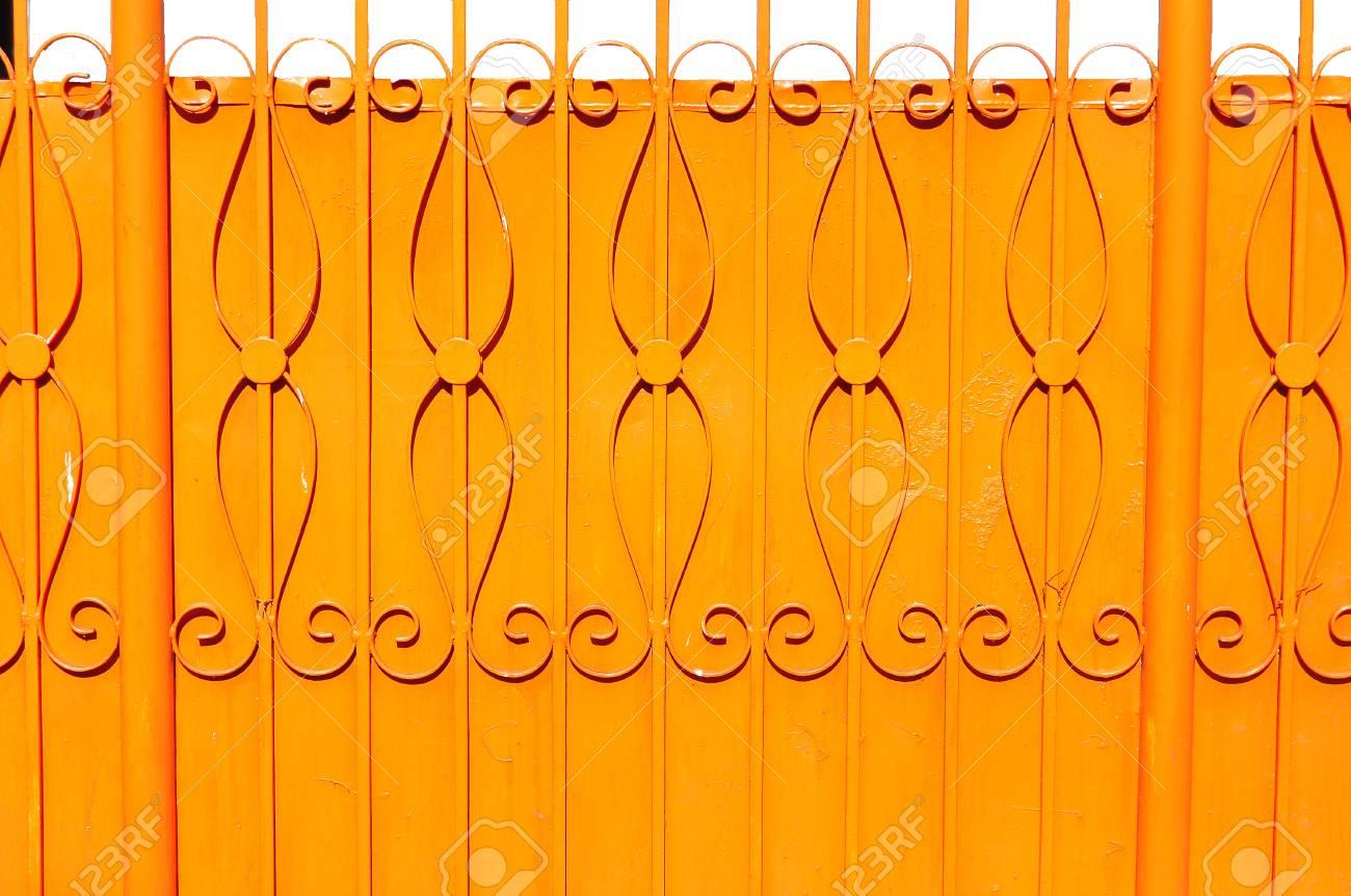 orange metal fence Stock Photo - 20916135