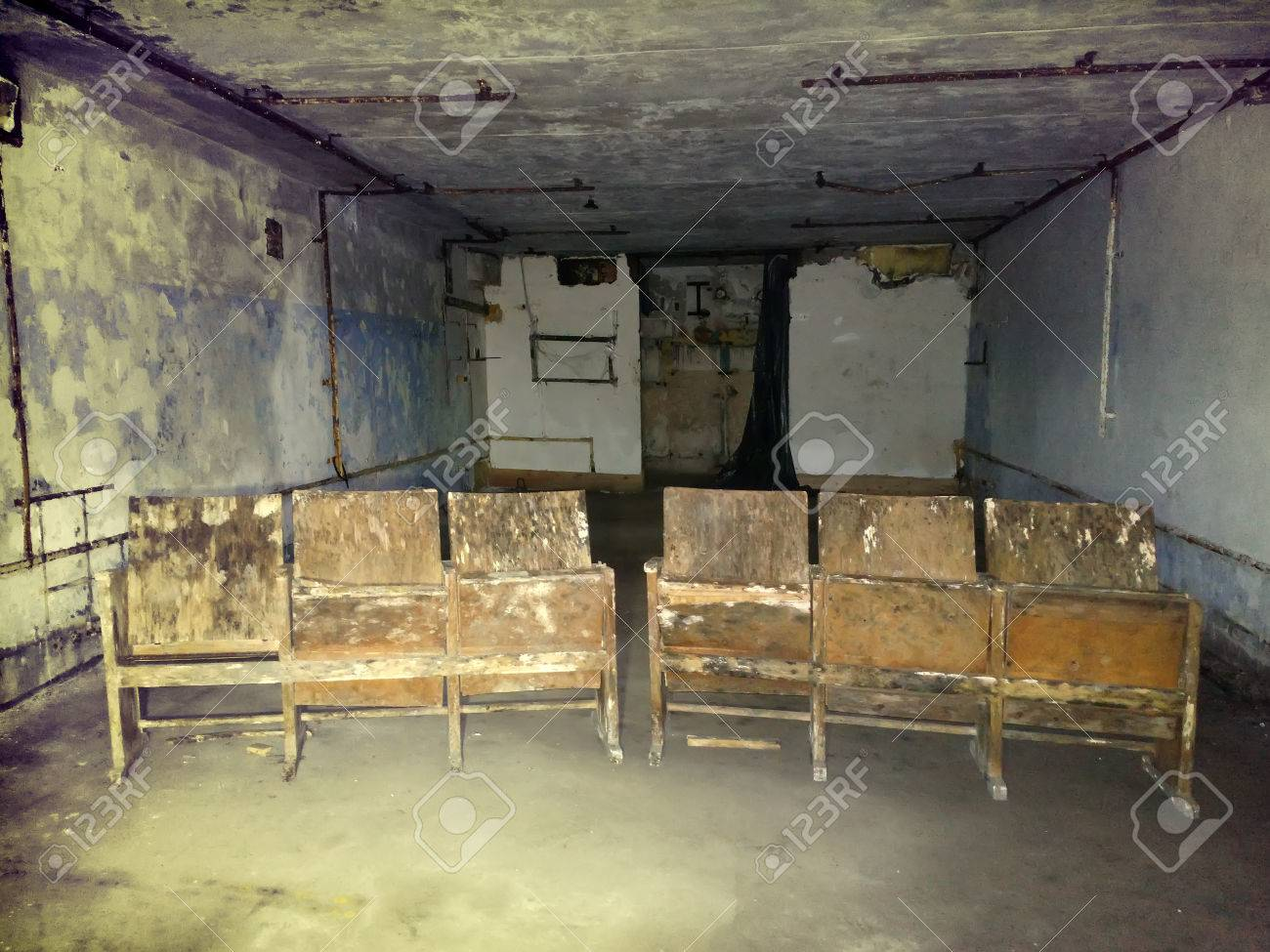 room in dungeon abandoned terrible with secret. chairs in a concrete room Stock Photo - & Room In Dungeon Abandoned Terrible With Secret. Chairs In A Concrete ...