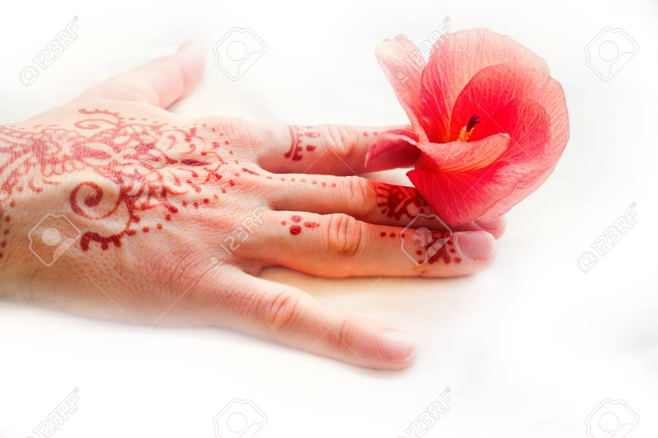 Hindu Pattern On Female Hand And Red Flower Tropical Hibiscus