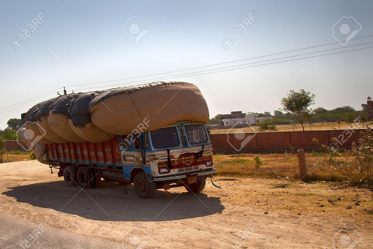 India, Jaisalmer - March 5, 2018: colourful Indian trucks on